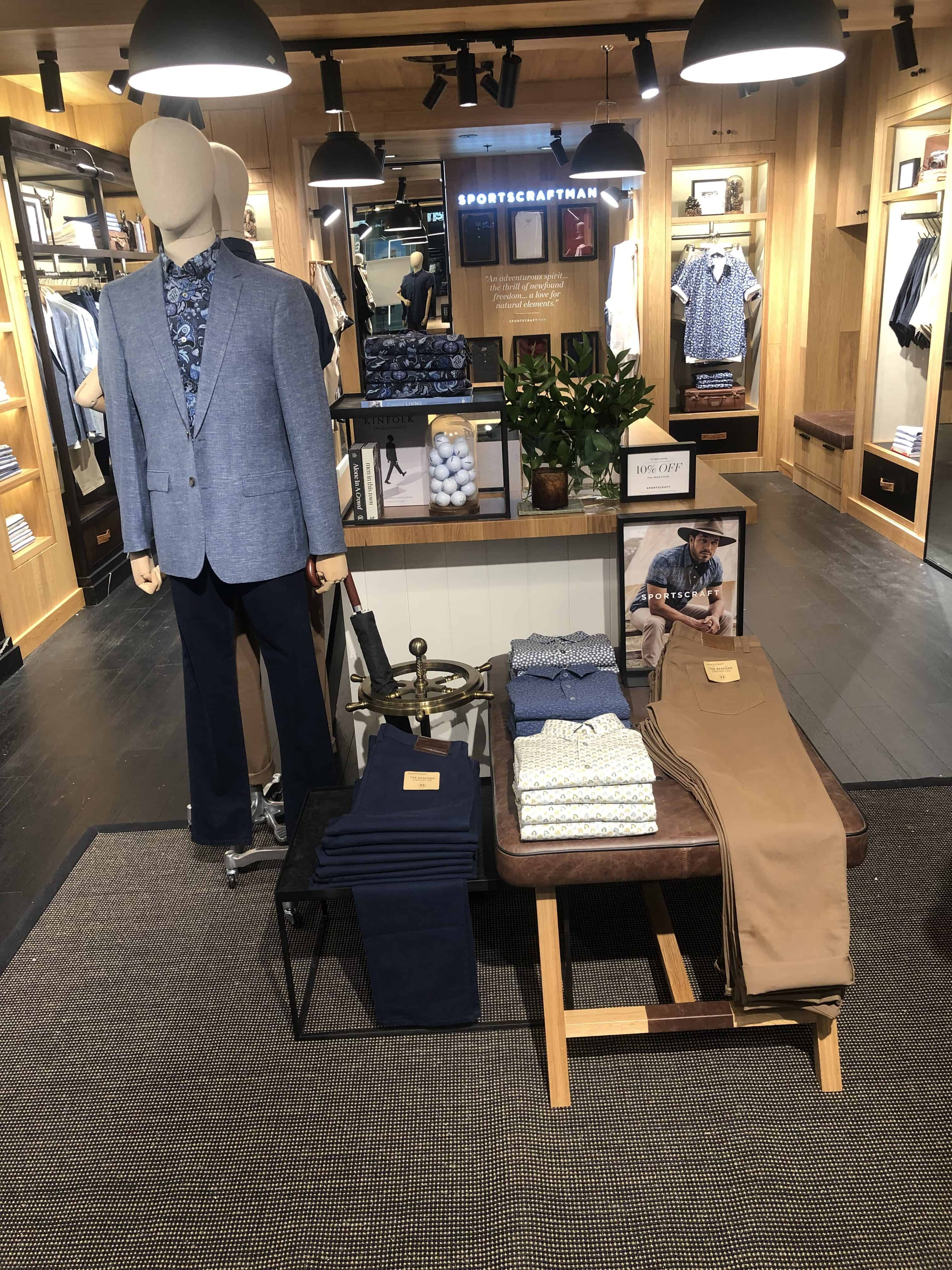 Interior of Sportscraft Mens Merivale Store